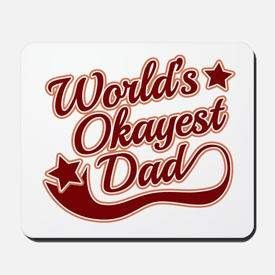 World's Okayest Dad Red Mousepad