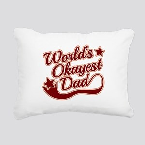 World's Okayest Dad Red Rectangular Canvas Pillow