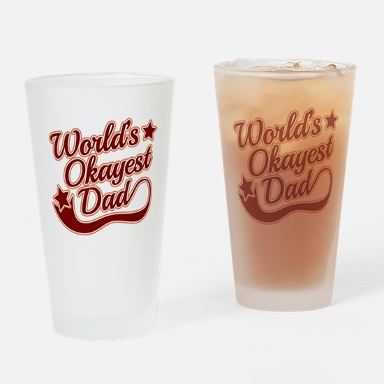 World's Okayest Dad Red Drinking Glass