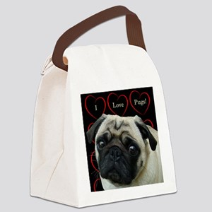 Cute I Love Pugs Canvas Lunch Bag