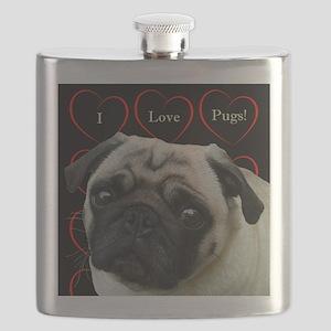 Cute I Love Pugs Flask