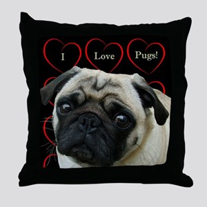 Cute I Love Pugs Throw Pillow