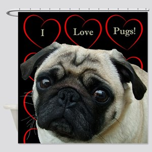 Cute I Love Pugs Shower Curtain