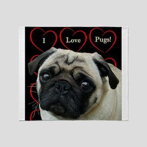 Cute I Love Pugs Throw Blanket