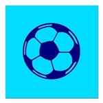 Blue Soccer Ball Square Car Magnet 3