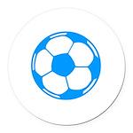 Blue Soccer Ball Round Car Magnet