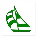 "Green Sailboat Square Car Magnet 3"" X 3"""