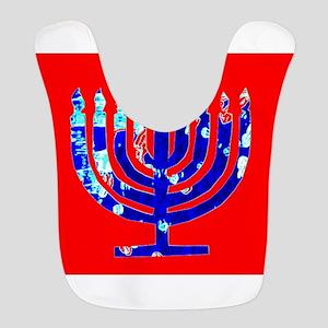 Red Blue Menorah Hanukkah 4Nina Polyester Baby Bib