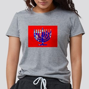 Red Blue Menorah Hanukkah Womens Tri-blend T-Shirt