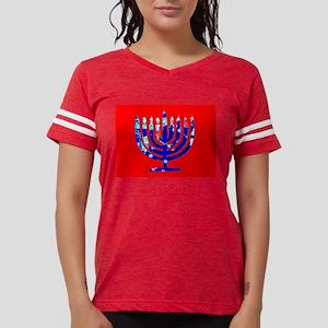 Red Blue Menorah Hanukkah 4N Womens Football Shirt