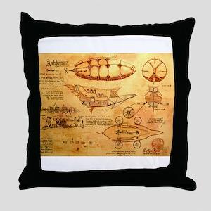 Steampunk Airship Throw Pillow