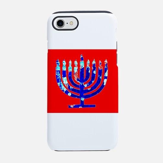 Red Blue Menorah Hanukkah 4Nin iPhone 7 Tough Case