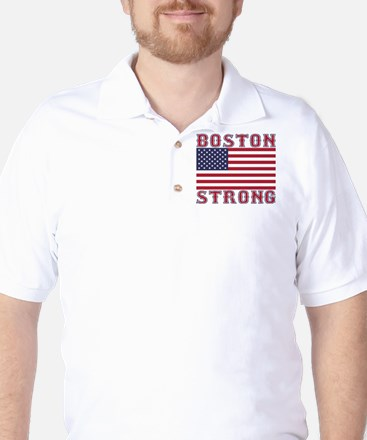 BOSTON STRONG U.S. Flag Golf Shirt