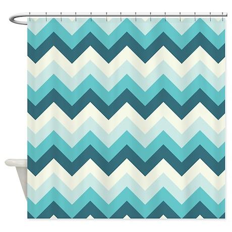 teal and off white zigzag shower curtain by zandiepantshomedecor. Black Bedroom Furniture Sets. Home Design Ideas