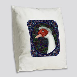 Muscovy Duck Head Decorative Burlap Throw Pillow