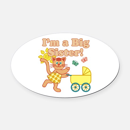 Big Sister Cat Oval Car Magnet