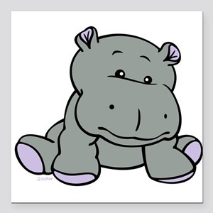 """Hippo Baby Square Car Magnet 3"""" x 3"""""""
