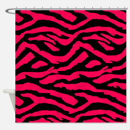 Pink-n-Black Zebra Shower Curtain