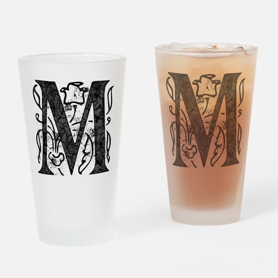 Fancy Monogram M Drinking Glass