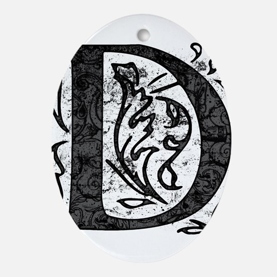 Fancy Monogram D Ornament (Oval)