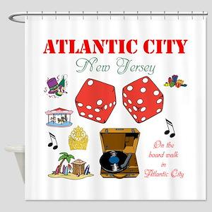 ON THE ATLANTIC CITY BOARDWALK. Shower Curtain