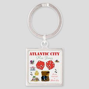 ON THE ATLANTIC CITY BOARDWALK. Square Keychain