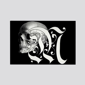 Gothic Skull Initial M Rectangle Magnet