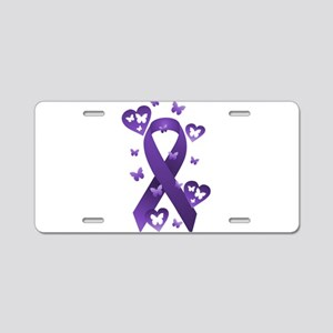 Purple Awareness Ribbon Aluminum License Plate