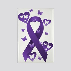 Purple Awareness Ribbon Rectangle Magnet