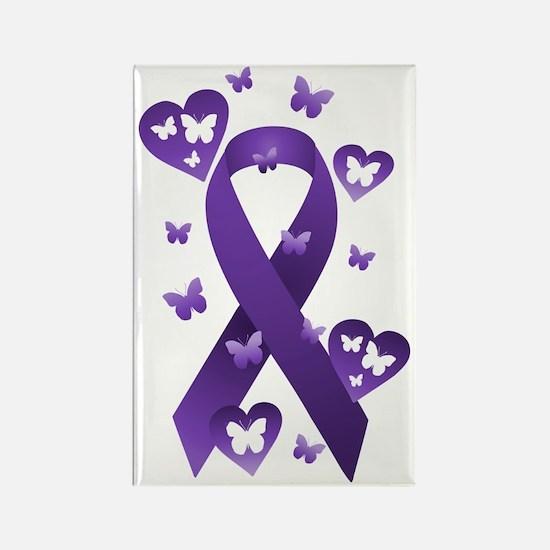 Purple Awareness Ribbon Rectangle Magnet