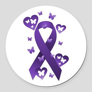 Purple Awareness Ribbon Round Car Magnet