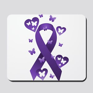 Purple Awareness Ribbon Mousepad