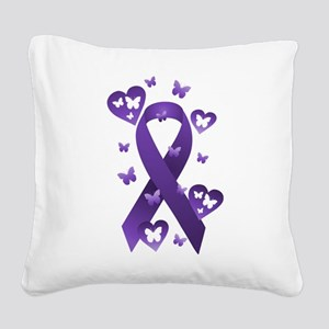 Purple Awareness Ribbon Square Canvas Pillow