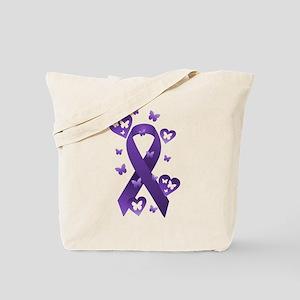 Purple Awareness Ribbon Tote Bag