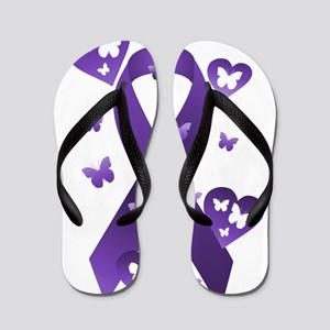 Purple Awareness Ribbon Flip Flops