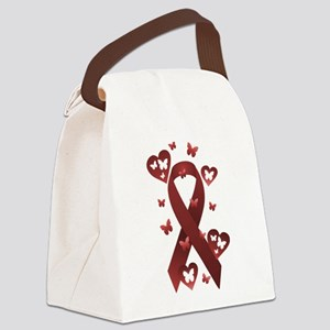 Red Awareness Ribbon Canvas Lunch Bag