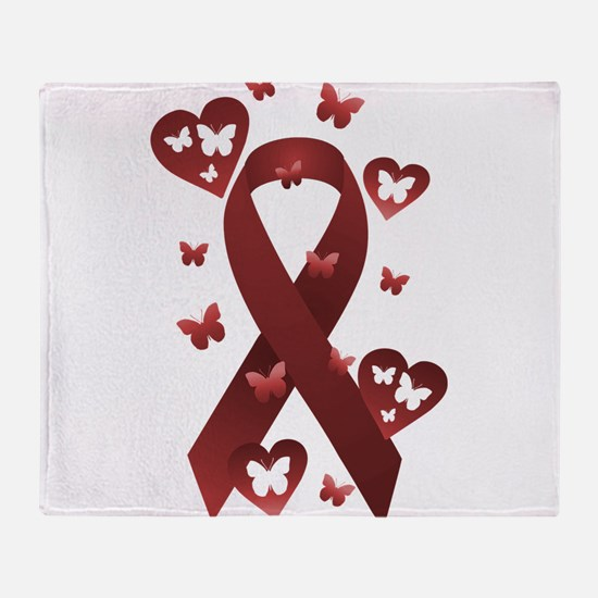 Red Awareness Ribbon Throw Blanket