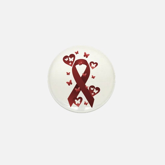 Red Awareness Ribbon Mini Button