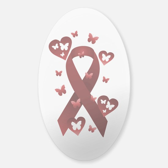 Red Awareness Ribbon Sticker (Oval)