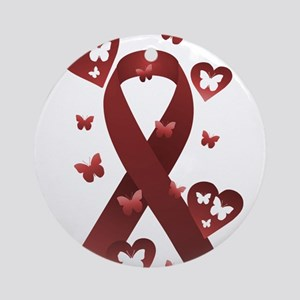 Red Awareness Ribbon Ornament (Round)