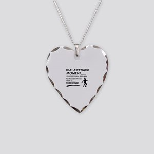 Discus throw sports designs Necklace Heart Charm