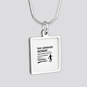 Discus throw sports designs Silver Square Necklace