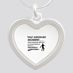 Discus throw sports designs Silver Heart Necklace
