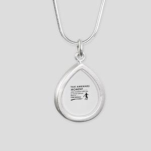Discus throw sports designs Silver Teardrop Neckla