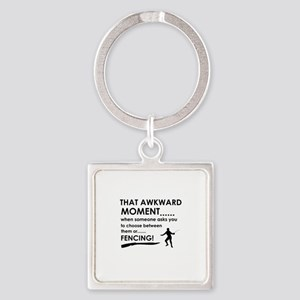 Fencing sports designs Square Keychain