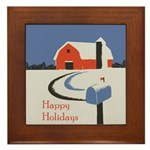 Winter Snow on Barn Framed Tile