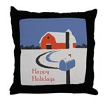 Winter Snow on Barn Throw Pillow