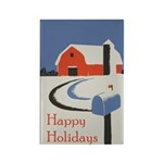Winter Snow on Barn Rectangle Magnet (100 pack)