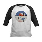 Winter Snow on Barn Kids Baseball Jersey