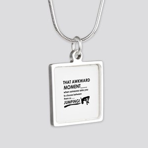 Jumping sports designs Silver Square Necklace